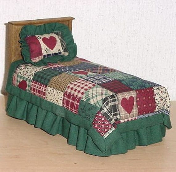 make your own dollhouse bed pattern with bedding easy. Black Bedroom Furniture Sets. Home Design Ideas