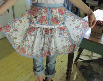 vintage apron made with hankies...blue bows and pink roses