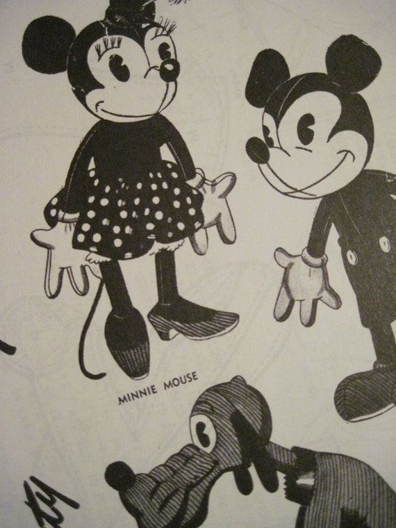 1945 Mickey, Minnie and Pluto pattern