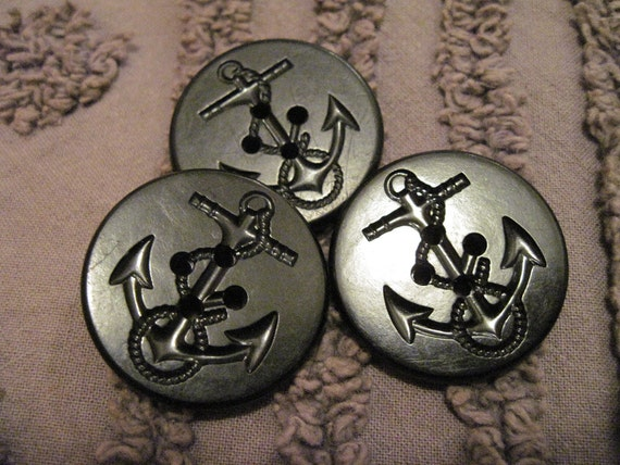 black vintage peacoat buttons...set of 3