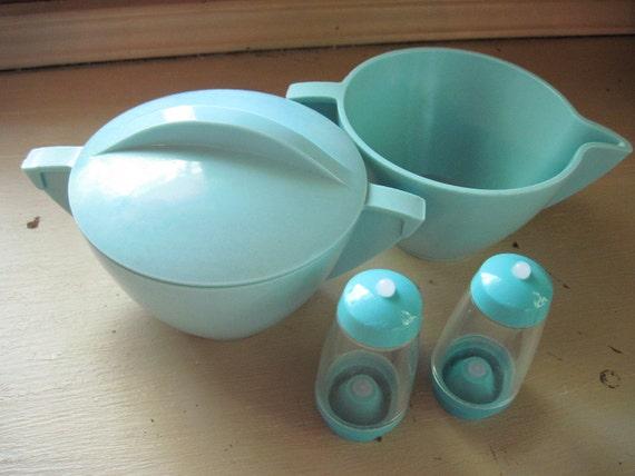 Retro Turquoise Mallow-Ware Sugar Bowl and Creamer