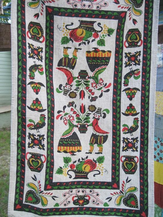 folk art kitchen dish towel