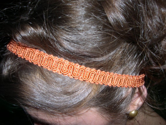 headband/orange gimp and vintage mother of pearl button/28