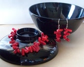 Bracelet & Earring Set  - Stick Around - Red Coral and Sterling Silver SRAJD ON SALE