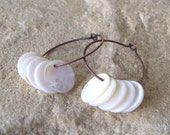 Chadra - Mother Of Pearl And Oxidized Copper Hoop Earrings SRAJD Clearance Sale