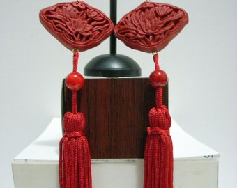 Handmade Chinese Flower Cinnabar Traditional Red Earrings