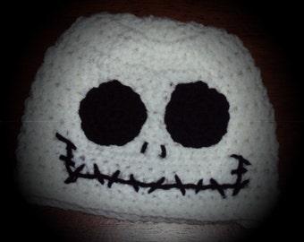 Boutique Custom Crochet Jack Skellington Fall Hat 6-12m, 18-24m, 2t-3t, 4-6-8, Teen or Adult