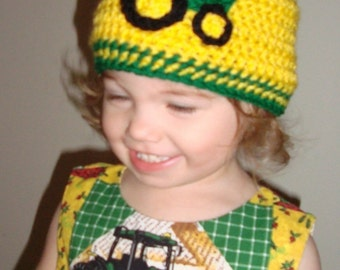 Boutique Crochet TRACTOR Hat Custom 6-12m, 18-24 m, 2t-3t, 4-6-8, Teen, Adult