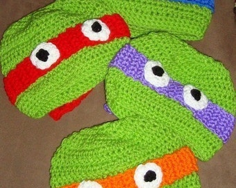 Crochet Ninja Turtle Hat Custom  6-12m, 18-24m, 2t-3t, 4-6-8, Teen and Adult