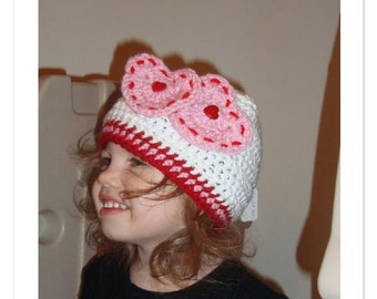 Boutique Be My Valentine Heart Hat Custom Crochet 6-12m, 18-24m, 2t-3t, 4-6-8, Teen and Adult