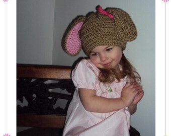 Boutique Bunny Hat Custom Crochet 6-12m, 18-24m, 2t-3t, 4-6-8