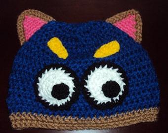 Boutique Peek A Boo Swiper The Fox Custom Crochet Hat  6-12m, 18-24 m, 2t-3t, 4-6-8, Teen, Adult