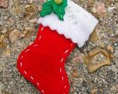 Christmas Stocking Felt HAIR CLIP - Red White w/ Holly - Felt Fuzzies by KarmaBox