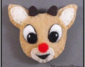 Rudolph the Red-Nosed Reindeer Felt HAIR CLIP - Christmas - Felt Fuzzies by KarmaBox