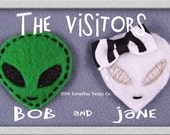Felt Fuzzies - Bob and Jane Alien Visitors Felt Hair Clips
