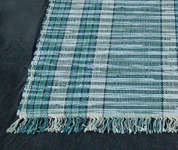 rag rug runner Swirls of Mint 'n Sage