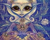 BLUE WINTER FANTASY FAIRY SNOWFLAKE CAT MAGICAL MINI ART PRINT PICTURE BY BLONDE BLYTHE