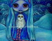 SNOWY OWL FAIRY FANTASY IN BLUE BIG EYE BLYTHE DOLL KOZY KAPE MINI ART PRINT PICTURE