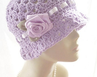100% Cotton Crochet Cloche Hat 1920s Satin Rose