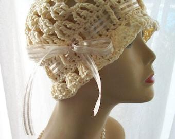 Cotton Cloche Sun Hat with Ribbon
