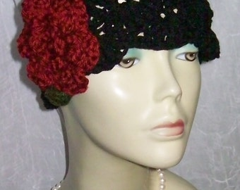 Black Red Warm Winter Cloche 1920s Flapper Hat Rose