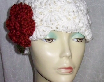Ivory Red Warm Winter Cloche 1920s Flapper Hat Rose