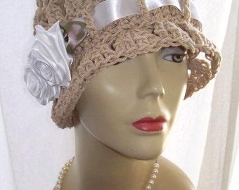 Beige Cotton Cloche 1920s Flapper Sun Hat Satin Roses