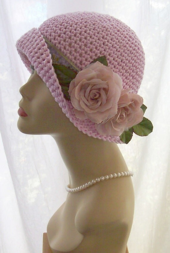 Pink Shabby Cotton Classic Cloche Hat Chic Flowers