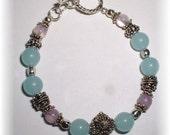 Larimar Amethyst and Bali Silver Bracelet
