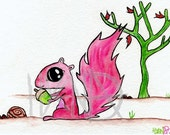 Cureuil - The pink squirrel - Print