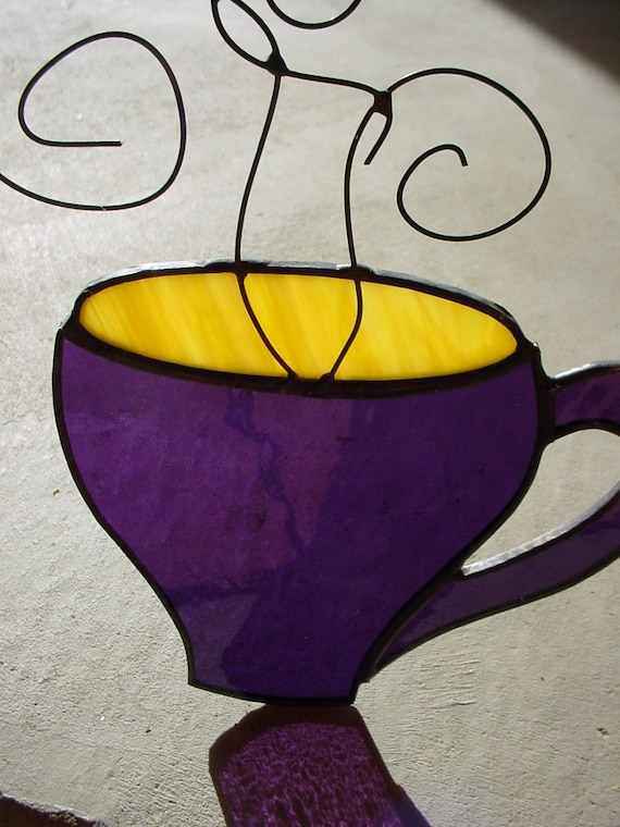 Stained Glass Coffee Cup Sun Catcher vickileigh
