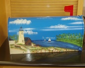 Handpainted Mailbox with Lighthouse Scene