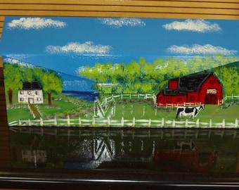 Handpainted Wallmount mailbox with Barnyard Scene