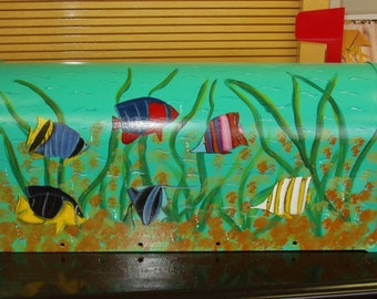 Handpainted Mailbox with Tropical Fish Design