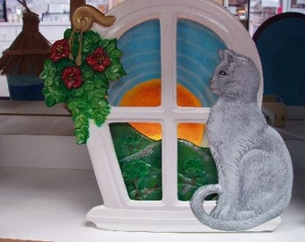 Handpainted Ceramic Silhoutte Cat Sitting on Windowsill