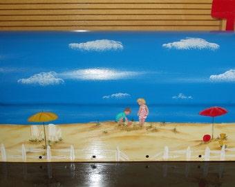 Handpainted Beach Scene Mailbox with Children Playing