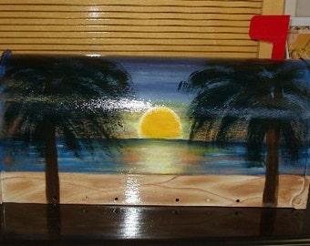 Handpainted Beach Sunset Design Mailbox