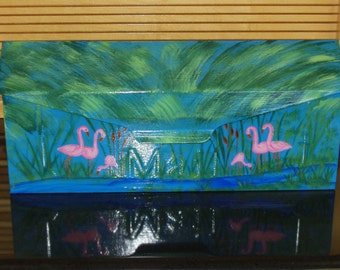Handpainted Wall Mount Mailbox with Flamingo Design