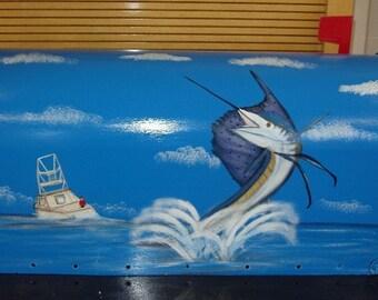 Handpainted T2 Mailbox Sailfish Design