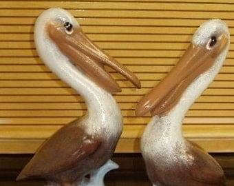 Pair Ceramic Pelicans Indoor Outdoor Home and Garden Decor Handpainted