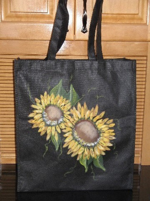 Sunflower Design Grocery Tote Bag Hand Painted Sunflowers