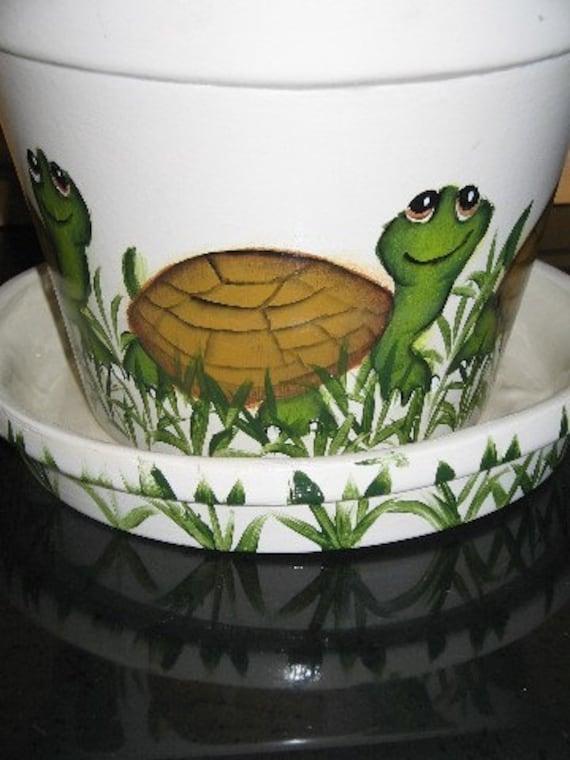 Large Flower Pot  Hand Painted Turtle  Design Ceramic