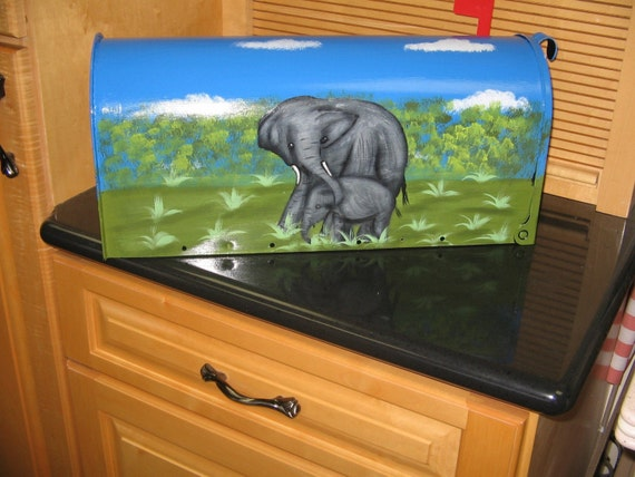 Hand Painted Mailbox Mother and Baby Elephant Design