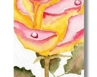 ACEO Rose ORIGINAL flower dewdrop peace painting by M. Pruitt