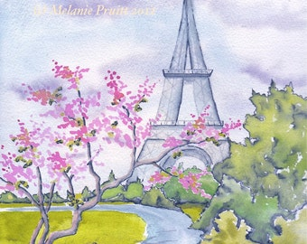 11x14 Spring in Paris France Eiffel Tower ORIGINAL watercolor print by Melanie Pruitt
