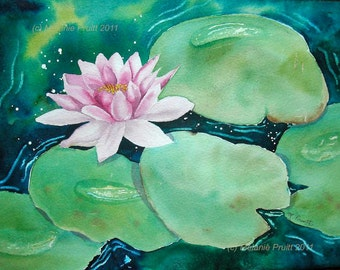 Enchanted Waterlily ORIGINAL 11x14 Zen watercolor painting by Melanie Pruitt EBSQ SFA