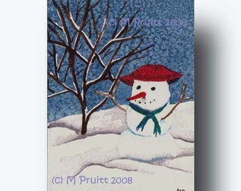 Snowman ACEO frosty snow winter watercolor by M Pruitt EBSQ SFA