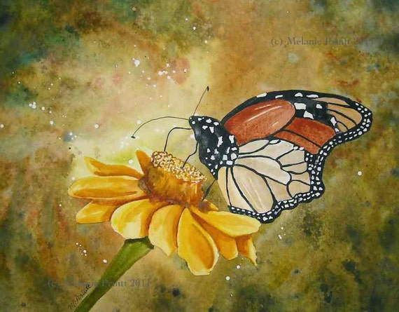 RESERVED for Em -  Butterfly Original flower floral watercolor Painting by Melanie EBSQ