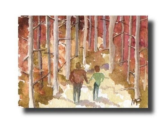 ACEO Woodland Walk romance couple ORIGINAL watercolor painting by Melanie Pruitt