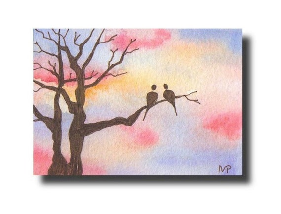 Sunset ACEO love birds ORIGINAL sunrise tree bird watercolor painting by Melanie Pruitt SFA
